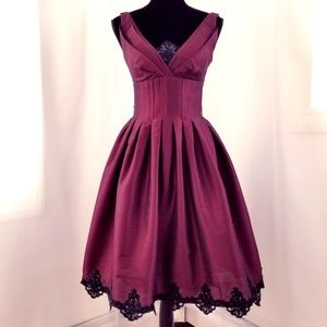 JSBoutique Dresses - Burgundy Pleated A-Line Dress